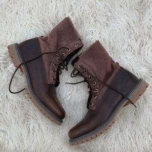 Timberland Suede & Leather Sherpa Boots Size 8
